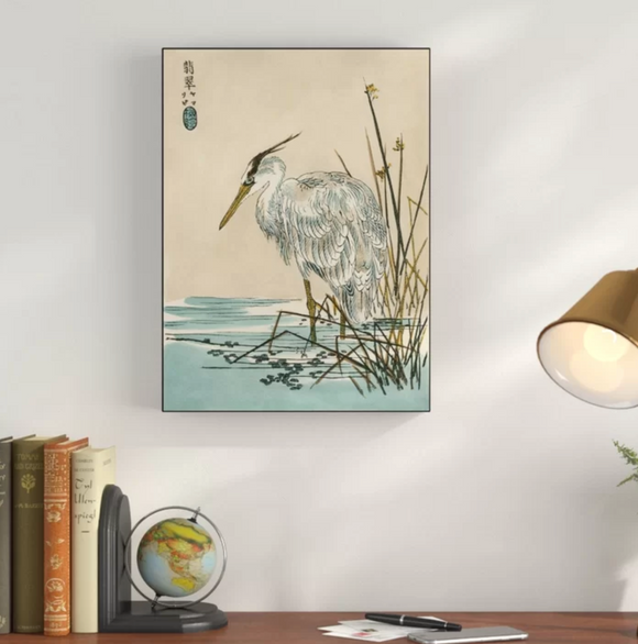Oriental Crane I' Graphic Art Print on Wrapped Canvas