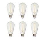 Westinghouse Pack of (6) 6.5 Watt Vintage Edison Dimmable ST20 Medium (E26) LED Bulbs - 810 Lumens, 2700K, and 80CRI