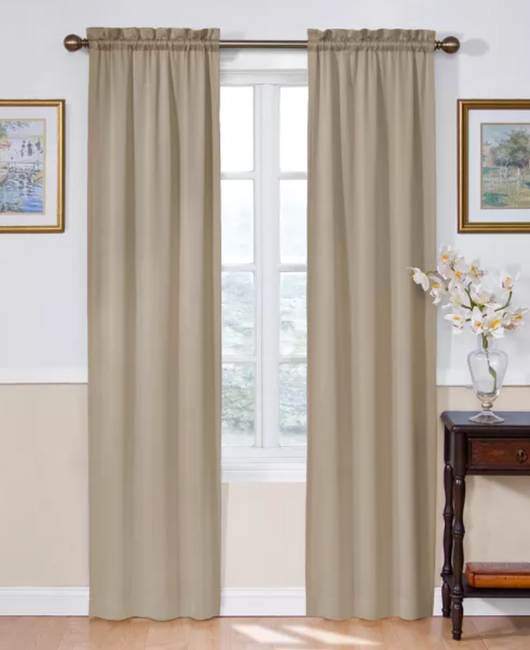 Eclipse Solid Room Darkening Rod Pocket Single Curtain Panel 54inx84in - Taupe