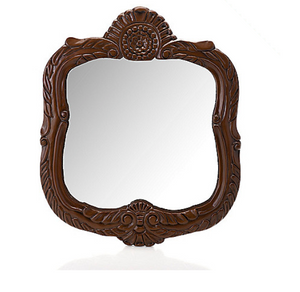 "Style at Home with Margie 23.5"" Marilyn Hand-Carved Walnut Vanity Mirror"
