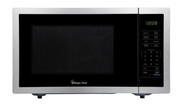 Magic Chef 0.9 Cu. ft. Countertop Microwave in Stainless Steel with Gray Cavity, Silver