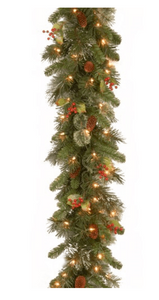 Pre-Lit Pine Garland with 100 Clear Lights
