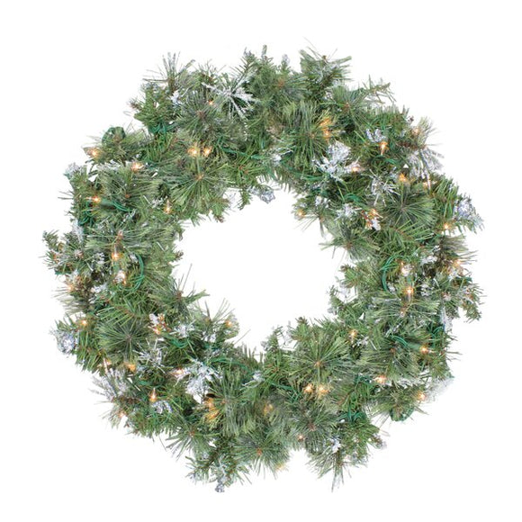 Snow Mountain Pine Artificial Christmas Lighted Plastic Wreath