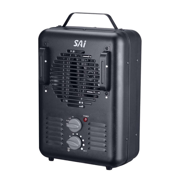 1,500-Watt Utility Milkhouse Fan-Forced Portable Heater with Thermostat- BLACK- Model# DQ1409