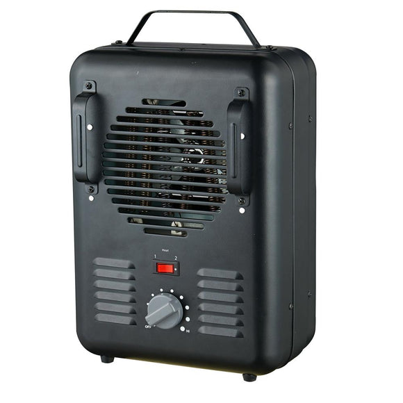 1,500-Watt Utility Milkhouse Fan-Forced Portable Heater with Thermostat- BLACK- Model# DQ1409-2