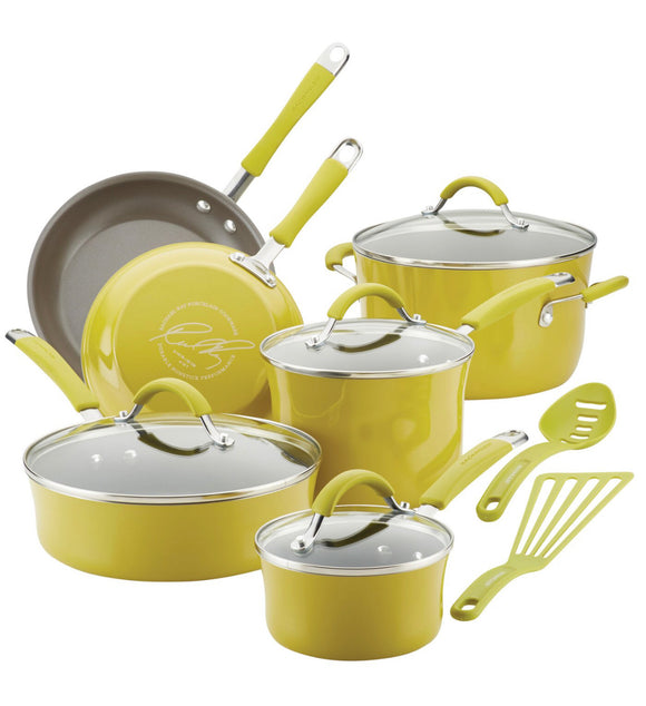 Rachael Ray Cucina 12 Pieces Aluminum Non Stick Cookware Set-Lemongrass Green