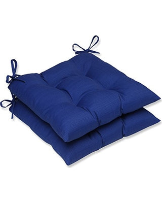 Pillow Perfect Fresco Indoor/Outdoor Seat Cushion, Navy-Set of 2