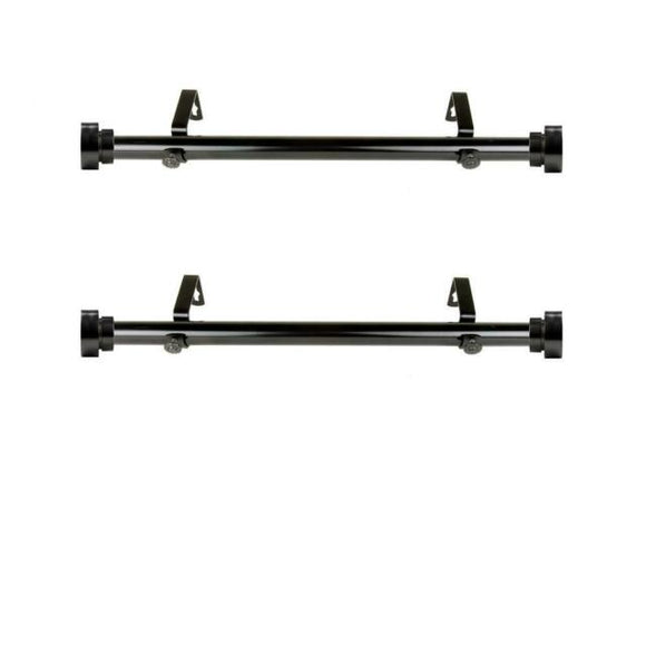1 inch dia. Side Curtain Rod 12-20 inches Long - Black (set of 2)