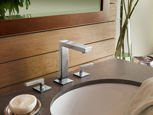 Symmons SLW-3612-1.5 Duro Deck Mount Widespread Bathroom Faucet - Includes Metal Pop-Up Drain Assembly