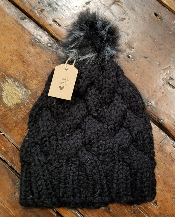 Michelle Mooney's  Cable Knit Pompom Hat