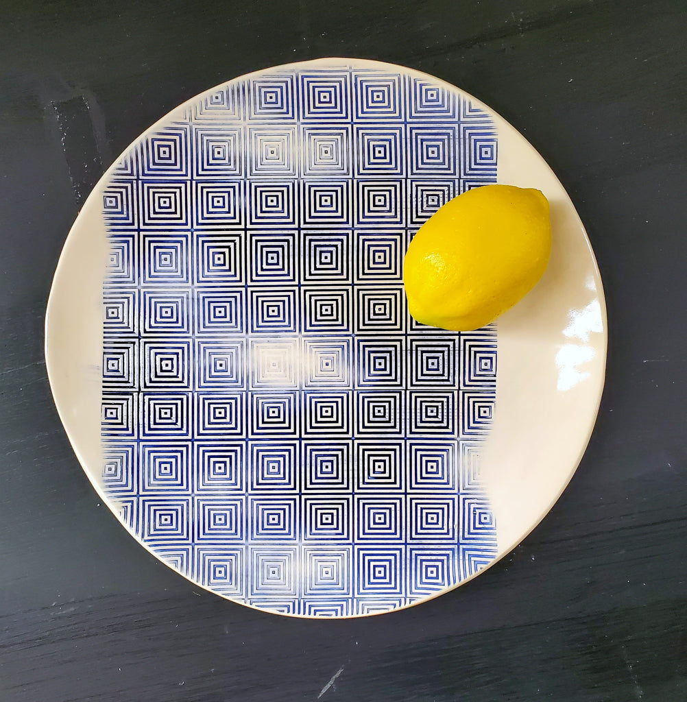 JRN - Faded Blue Square Platter