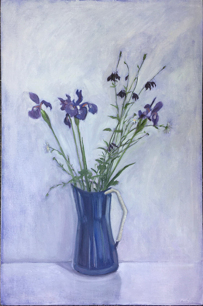 #50 Irises and Blue Jug,  May 30th, 2020