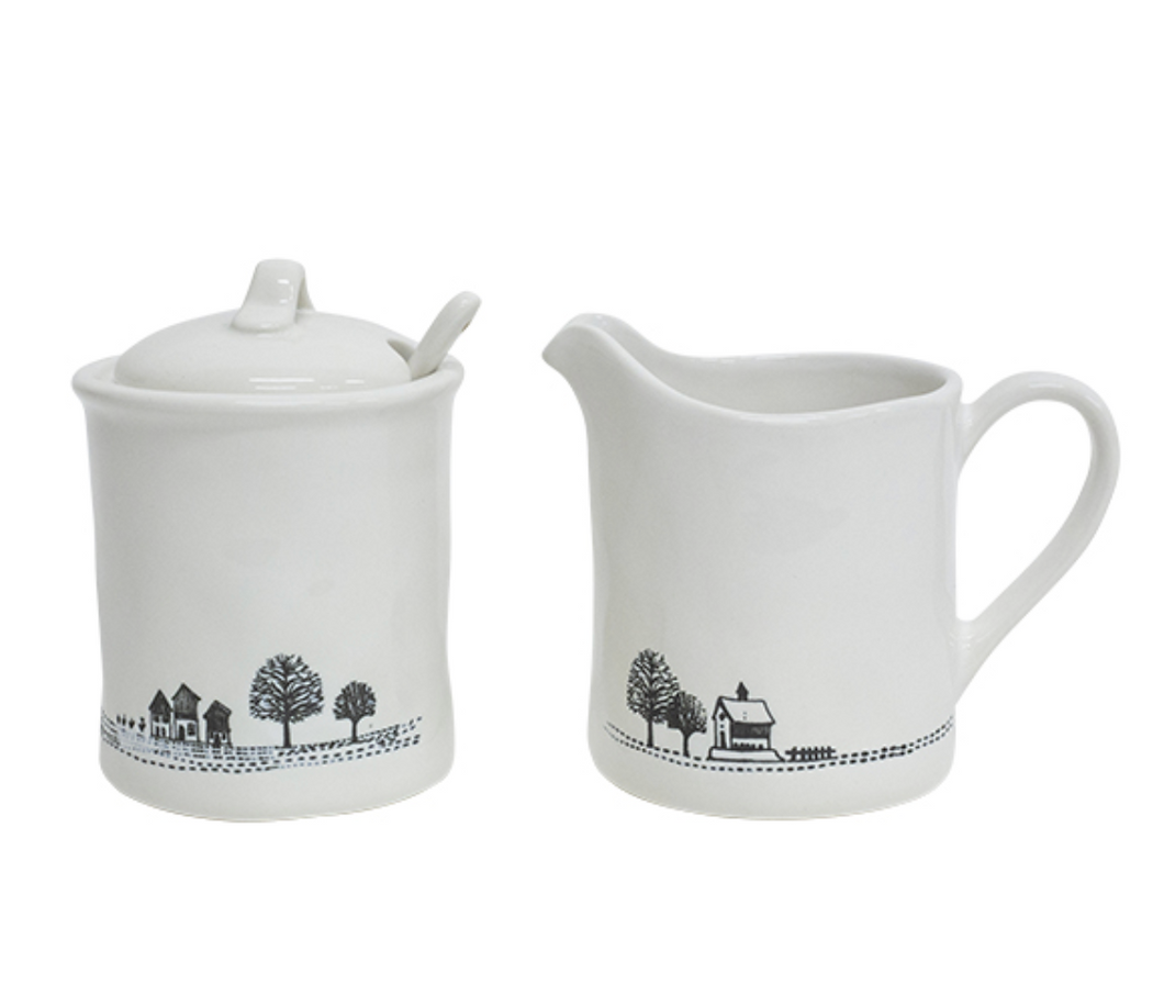 Engraved Country Milk Jug & Sugar Pot