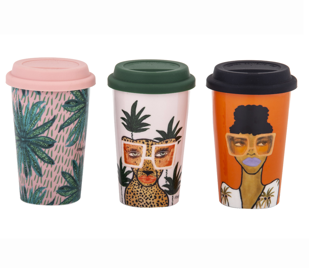 Double Wall Jungle Travel Mugs