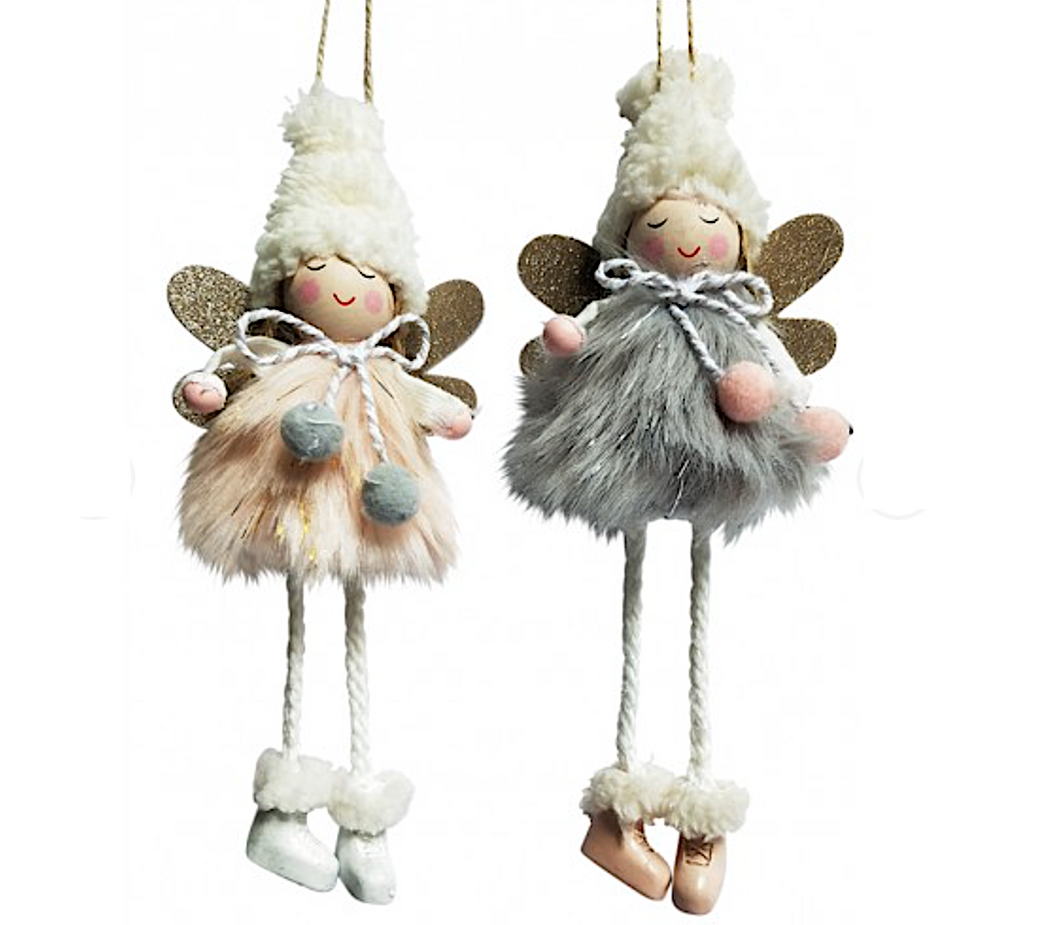 Peach Pink Or Grey Angel Ornament