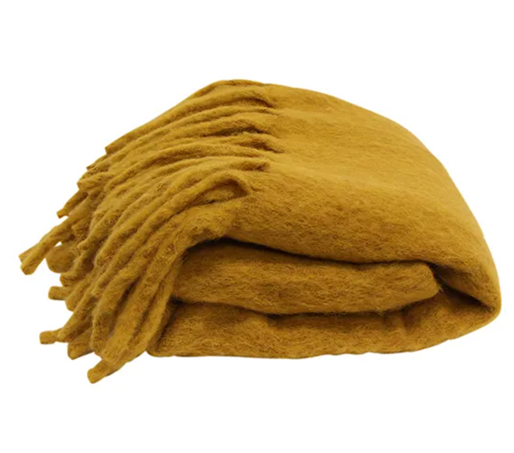 Fringe Mustard Throw Blanket