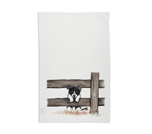 Curious Collie Tea Towel