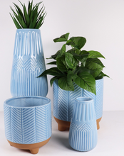 Large Dusty Blue Zari Vase