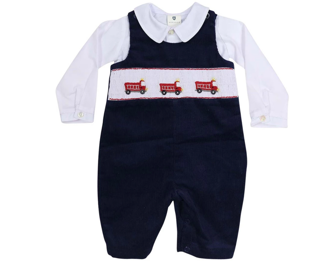 Fire Truck Corduroy Overall