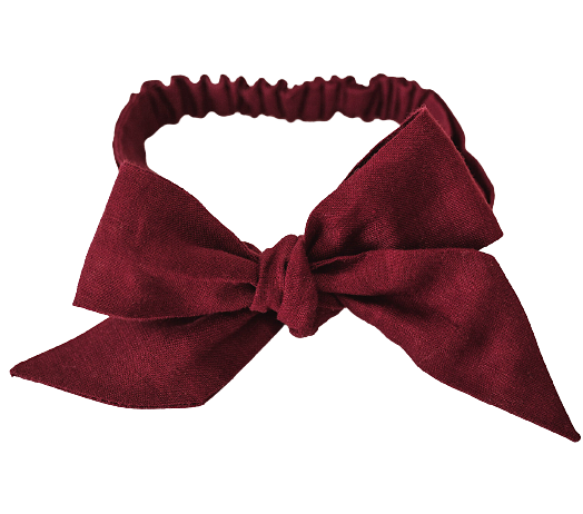 Burgundy Linen Bow Headband