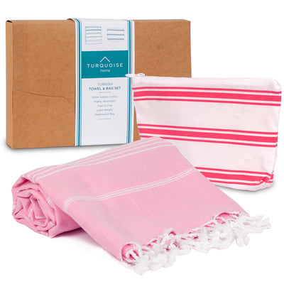 TH | Turkish Towel & Waterproof Bag Set Pink | 0790404945426 - Gifted Products