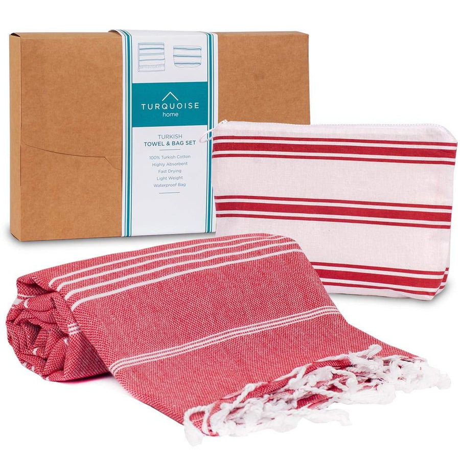 TH | Turkish Towel & Waterproof Bag Set Red | 0790404945419 - Gifted Products