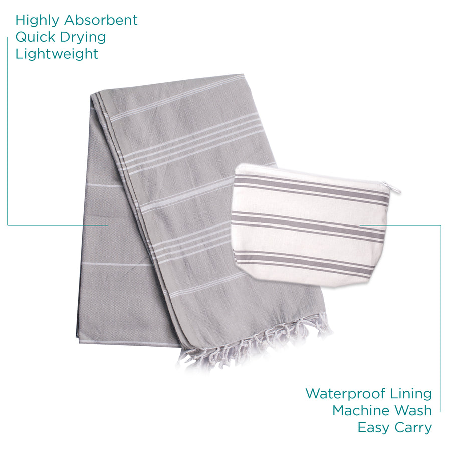 TH | Turkish Towel & Waterproof Bag Set Light Gray | 0790404945440 - Gifted Products