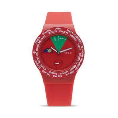 ATOP WORLD TIME WATCH RED - Gifted Products