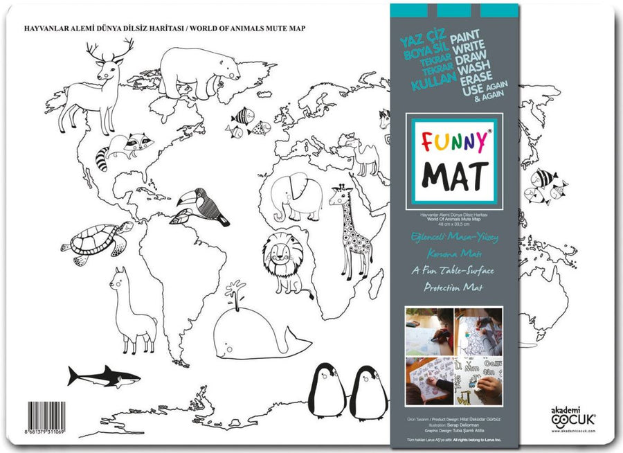 FUNNY MAT - WORLD OF ANIMALS MUTE MAP - Gifted Products