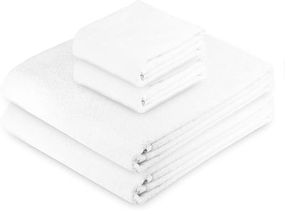 Exclusive 5 Star Hotel Turkish Cotton White Towel Set - (2 Bath Towels 2 Hand Towels) - Gifted Products