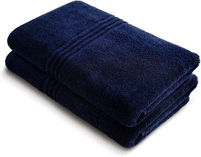 Exclusive 5 Star Hotel Turkish Cotton Navy Towel Set - (2 Bath Towels) - Gifted Products