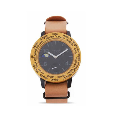 ATOP WORLD TIME WATCH AWA LEATHER SERIES AWA-BKGD-L03 - Gifted Products