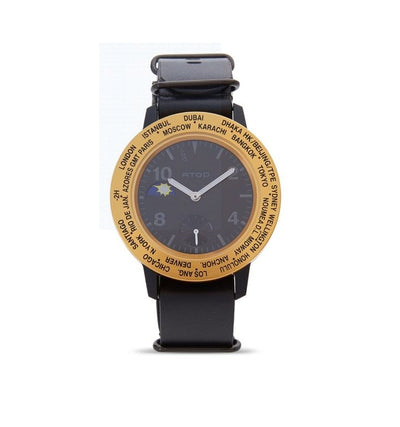 ATOP WORLD TIME WATCH AWA LEATHER SERIES AWA-BKGD-L01 - Gifted Products