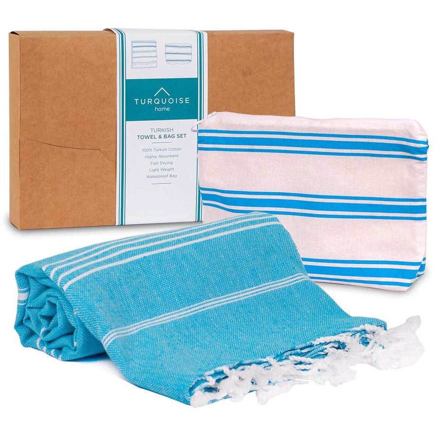 TH | Turkish Towel & Waterproof Bag Set Turquoise | 0790404945433 - Gifted Products