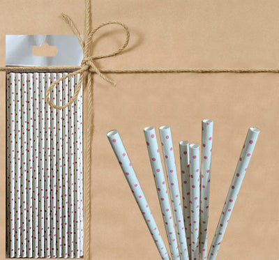 Paper Straw - White Polka Dot - Gifted Products