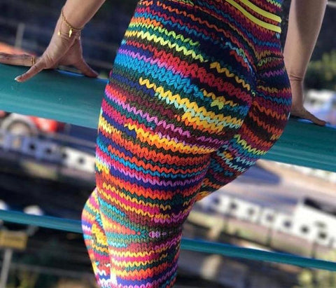 Image of High Waist Rainbow Leggings