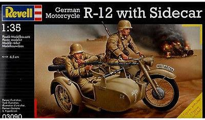 German Motorcycle R-12 with sidecar pienoismalli