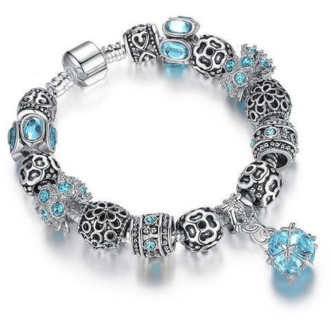 silver plated owl beads crystal bracelets