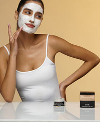 revivalist porcelain clarity mask on face
