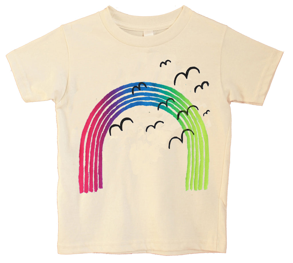 Naturally Over the Rainbow. Neon print on a natural organic t-shirt.