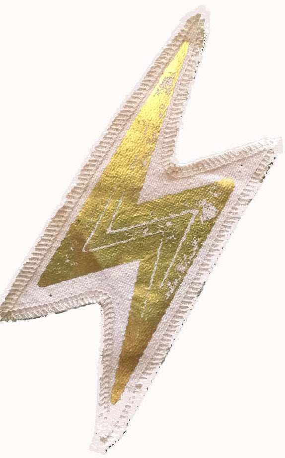 Small Gold Electric Bolt Patch