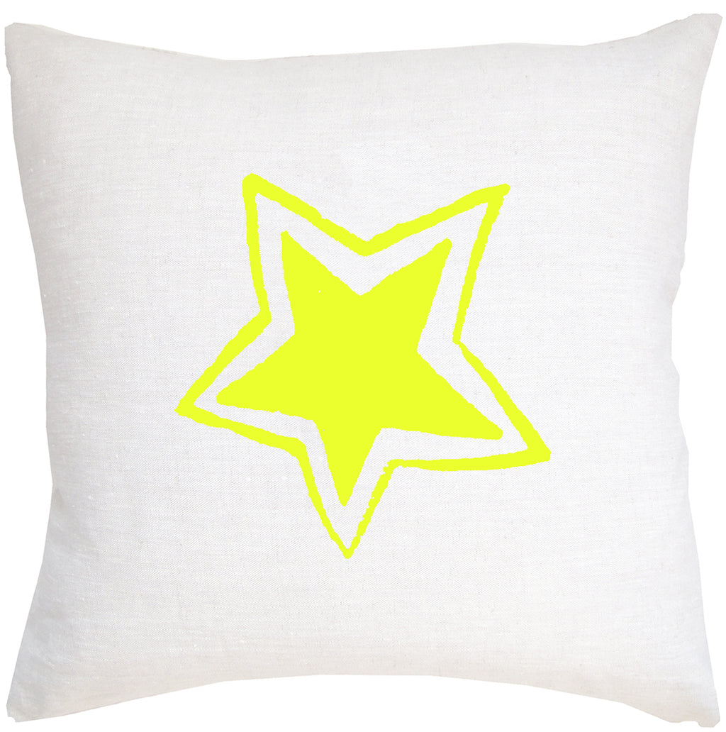 Neon Star on White Denim pillow