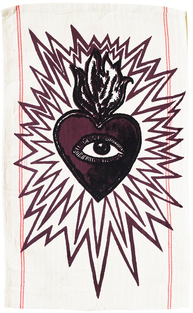 Burning Heart Icon Teatowel