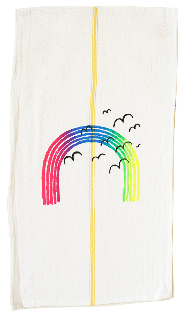 Over the rainbow : vintage style tea towel.