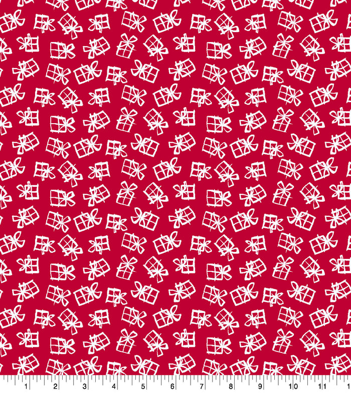 Baxter Mill Holiday Jolly Presents Red Fabric