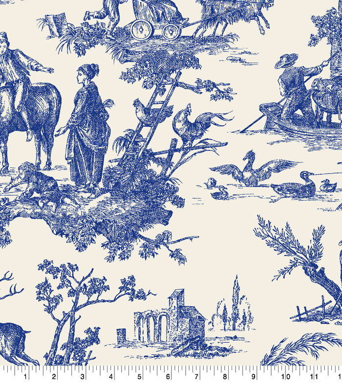 Baxter Mill Homestead Toile Blue Fabric