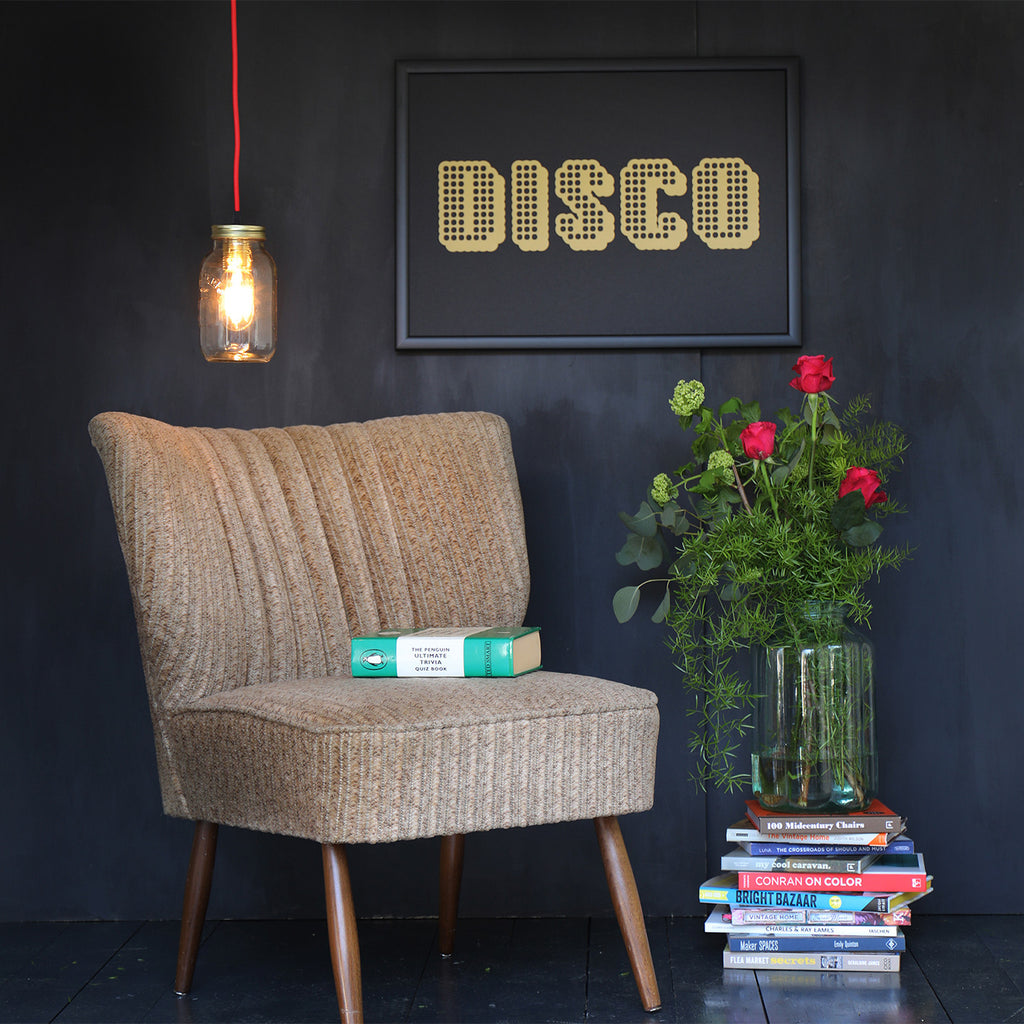 DISCO PRINT WITH VINTAGE COCKTAIL CHAIR
