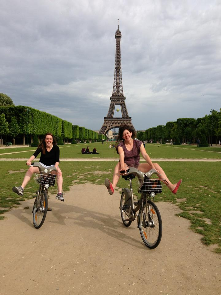 kate and a friend in front of eiffel tower