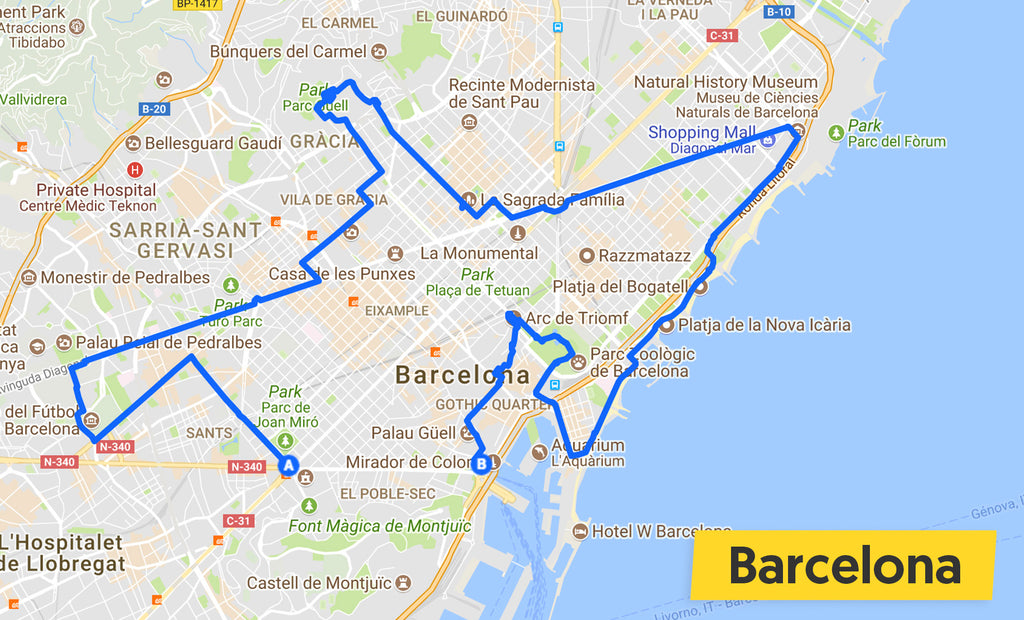 barcelona cycle ride map