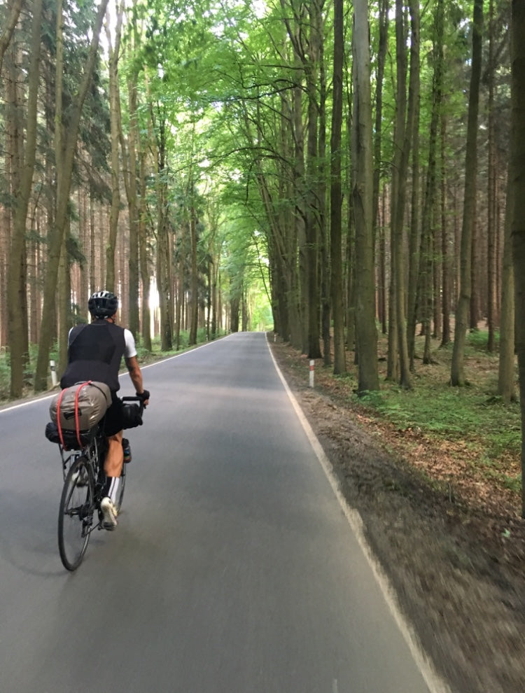 Czechia ben cycling through a forest